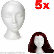 5 x POLYSTYRENE FEMALE DISPLAY HEAD MANNEQUIN