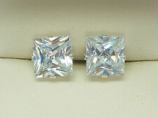925 STERLING SILVER ZIRCONIA CZ CRYSTAL SQUARE GEM STUD EARRINGS MENS WOMEN