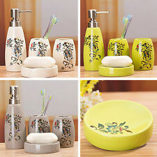 4pcs Ceramic Lotion Bottle Toothbrush holder Cup Soap Dish Bathroom Accessory