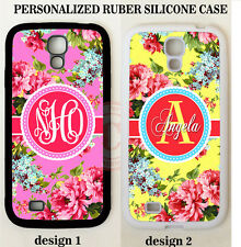 PINK YELLOW CORAL PEONY FLOWER MONOGRAM Case For Samsung Galaxy S6 S5 NOTE 5 4 3