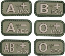 New Green  Blood Group Rubber Patches Viper Army RAF SAS Patch Badge