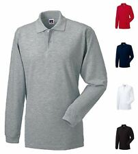 Mens Polo Shirt Long Sleeve Cotton Summer Plain Casual or Golf Top By Russell