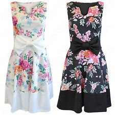NEW WOMEN LADIES SLIT NECK BOW FRONT FLORAL SKATER DRESS BOXY PLEAT LOOK SKIRT