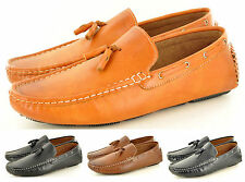 Mens Leather Look Slip On Suede Loafers Driving Shoes Tassel Design UK Size 6-11