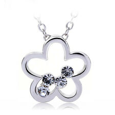10 x Flower Crystal Necklace Jewellery Silver Platinum Chain Pendant Wholesale