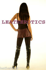 MICRO MINI SKIRT GENUINE LEATHER PURPLE PLEATED TIGHT CLUBWEAR LOW WAIST 312P