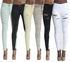 Sexy Women Black Beige White Ripped Jeans Slim Fit Jeggings Trousers Size 6-14