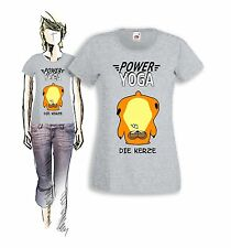 POWER YOGA - HAMSTER KERZE - LADY T-SHIRT - FUN SHIRT - FRUIT OF THE LOOM