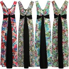 Womens Plus Size Contrast Knot Panel Summer Floral Print Grecian Maxi Dress 8-26