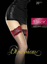 Burlesque Applique Black with Red Lace Hold-Ups with Feature Detail to Thigh