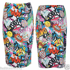 Womens New Comic Cartoon Print Ladies Stretch Bodycon Fit Pencil Tube Midi Skirt
