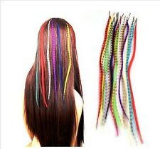 "16"" Grizzly Feather Hair Extensions-Choose From 10 Colours l-Tip+Free Micro Bead"