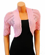 Retro Classic Vtg 1940's style WW2 Land Girl Bolero Shrug Cardigan in Pink
