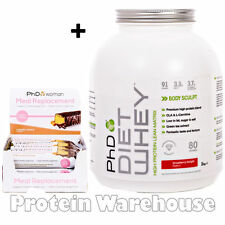 PHD DIET WHEY MEAL REPLACEMENT SHAKE + BARS FREE 12 WEEK WEIGHT LOSS PLAN GUIDE