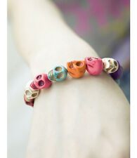 Funk Colourful Skull Elastic Bracelet Retro Pop Green Pink Yellow Multi