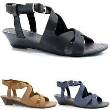 Ladies Wedge Sandals Womens Strappy Summer Fancy Gladiator Low Heels Beach Shoes