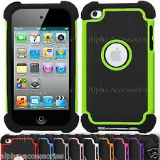 Shock Proof Dual Layer Silicone Hard Case Cover For Apple iPod Touch 4 G 4th Gen