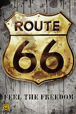 Route 66 - Golden Sign - Cars Print - Poster Druck - Größe 61x91,5 cm
