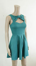 ASOS Dress - ASOS Cut Out Skater Dress in Jade Green with Bow Detail