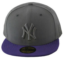 New Era 59fifty NY New York Yankees Tonal Grey Purple 5950 Fitted Hat Cap
