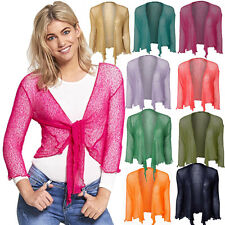 New Womens Ladies Fine Knit Cropped Tie Up Cardigan Stretchy Shrug Bolero