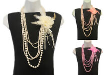 New VTG 1920's Style 5 Strands Gatsby Downton Jazz Flapper Pearl Bead Necklaces