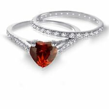White Gold Heart Cut Garnet CZ 1.92 CT Wedding Engagement Silver Ring Set