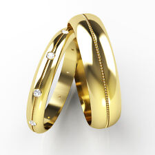 Matching Wedding Rings His and Hers Diamond Set Bands 18ct Yellow Gold.