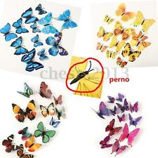 12PCS 3D Farfalla Butterfly Murali Wall Sticker Adesivo da Parete colorati UK