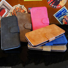 DE LUJO GAMUZA FUNDA CUERO TIPO CARTERA BASE PARA APPLE IPHONE 5 5S 6 & 6 PLUS