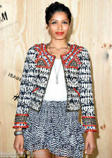 Isabel Marant H&M New Beaded Embroidered Quilted Blazer Jacket Red UK 8-10 34-36