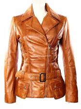 Supermodel Ladies New Sexy Fashion Tan Wax Biker Hip Length Real Leather Jacket