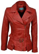 Supermodel Ladies New Sexy Fashion Red Wax Biker Hip Length Real Leather Jacket