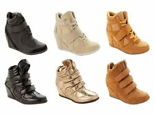 WOMENS WEDGE HI HIGH TOP TRAINERS CASUAL BOOTS LADIES UK SIZE 3-8