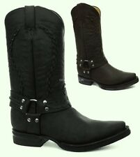 Grinders New Galveston Black / Brown Boot Western Mens Cowboy Biker Rock Boots