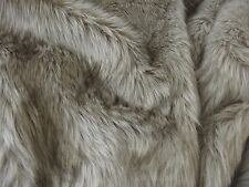 Super Luxury Faux Fur Fabric Material - LONG PILE OATMEAL