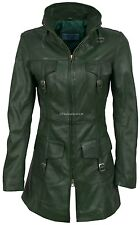 Victoria Green Wax Fashion Model Glamour Ladies Sexy Leather Jacket Trench Coat