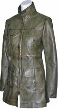 Victoria Olive Green Wax Fashion Model Glamour Ladies Leather Jacket Trench Coat