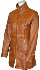 Victoria Tan Wax Fashion Model Glamour Ladies Style Leather Jacket Trench Coat