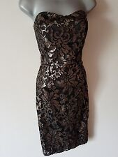 BNWT New NEXT Black Gold Sequin Bustier Dress size 14 16 or 18 RRP £75