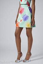 TOPSHOP New Floral Heart A-line Short Skirt Mint Green Limited Edition UK 6-16
