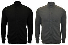 Mens Brave Soul Zip Button Up Stretch Knit Cardigan Top Jumper Shoulder Patches