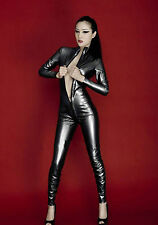 Completo Tuta Nero Black Cavallo Aperto Simil Latex Donna Female Fetish Clubwear