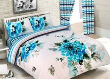 DUVET COVER +PILLOWCASES REVERSIBLE QUILT BEDDING SET FLORAL STRIPE EMERALD TEAL