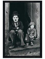 Black Wooden Framed The Kid Charlie Chaplin Classic Scene Poster 61x91.5cm