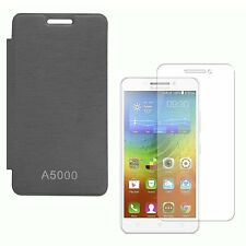 Premium Black Flip Cover with Screen Protector Guard for Lenovo A5000