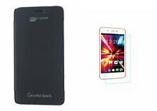 Premium Black Flip Cover with Screen Protector for Micromax Canvas Spark Q380