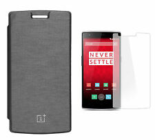 Premium Black Flip Cover with Screen Protector for OnePlus One