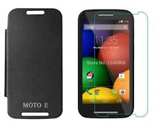 Premium Black Flip Cover with Screen Protector for Moto E