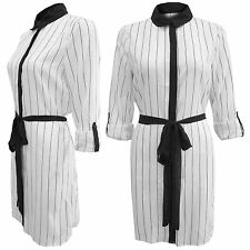 NEW LADIES MONO PINSTRIPE CREPE SHIRT DRESS WOMENS LONG SLEEVE BELT BLOUSE TOP